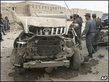 Damaged vehicle in Kandahar province