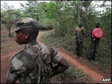 Ugandan soldiers in Napopo, north-east Dr Congo, 19 February