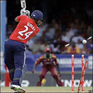 Ravi Bopara is bowled by Lionel Baker