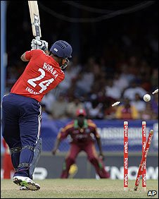 Ravi Bopara is clean bowled by Lionel Baker