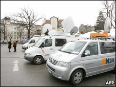 TV vans parked outside the courthouse in St Poelten, 15 March