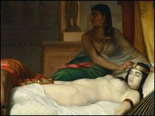 A painting of Cleopatra on her deathbed