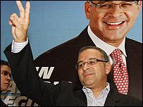 Mauricio Funes, candidato del Frente Farabundo Martí para la Liberación Nacional (FMLN), al proclamar el triunfo