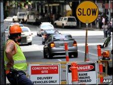 Slow sign at roadworks, Sydney Australia 3 Mar 09