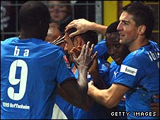 (L-R) Demba Ba, Chinedu Obasi Ogbuke and Vedad Ibisevic all celebrate a Hoffenheim goal