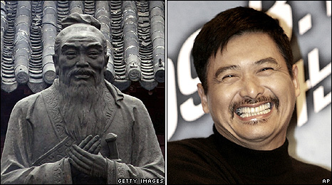 A statue of Confucius and actor Chow Yun-Fat