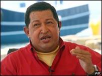 El presidente Ch�vez durante su alocuci�n en Al� Presidente.