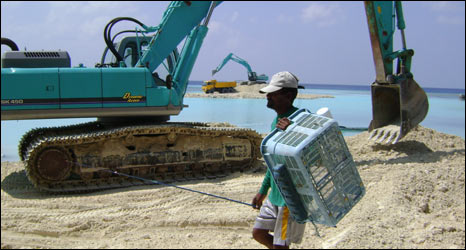 Sea defences in Maduvari, Maldives