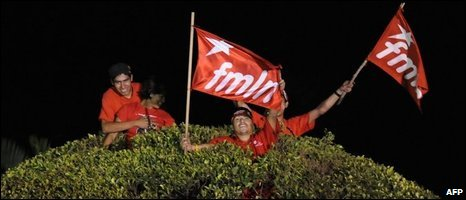 Salvadorean FMLN supporters celebrate in San Salvador, 16/03