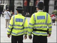 Metropolitan police on patrol in the West End in London