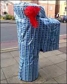Wrapped post box