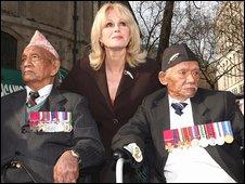 Joanna Lumley an former Gurkhas Tul Bahador Pun and Lachhiman Gurung
