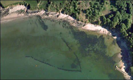 Aerial picture of the fish trap