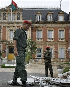Rebel soldiers guard the presidential office in Antananarivo, Madagascar