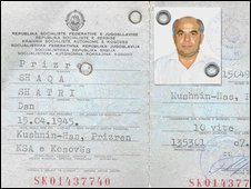 The Kosovan ID card used by Kumbaro