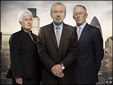 Sir Alan Sugar (centre) with board members Margaret Mountford and Nick Hewer