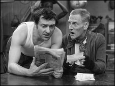 Comedy characters Steptoe and Son ponder Albert's Premium Bond win