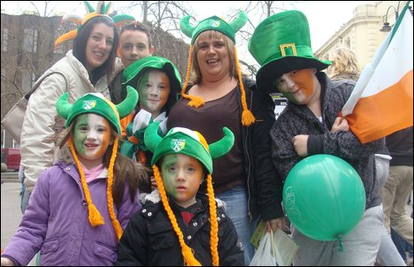 McIlreavy and Liken families at the St Patrick's Day parade in Derry