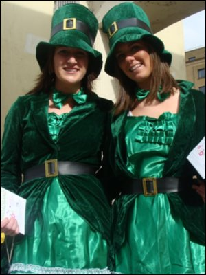 Sarah Lindsay and Emma Corrigan, St Patrick's Day parade, Derry