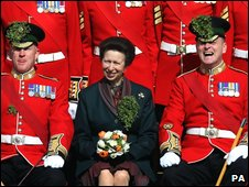 The Princess Royal presented the Irish Guards with shamrock