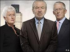 Sir Alan Sugar with Nick Hewer and Margaret Mountford
