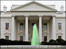 Green fountain outside White House