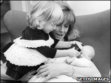Natasha Richardson as a toddler with her mother and baby sister