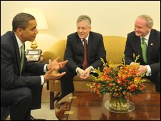 Barack Obama with Martin McGuinness and Peter Robinson