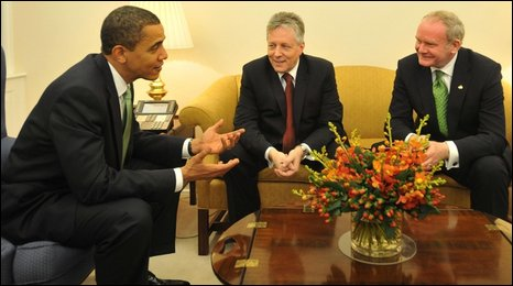 Barack Obama with Peter Robinson and Martin McGuinness