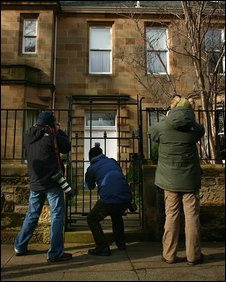 News photographers outside Sir Fred's Edinburgh house