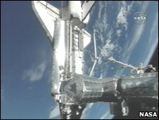 Shuttle docking (Nasa TV)