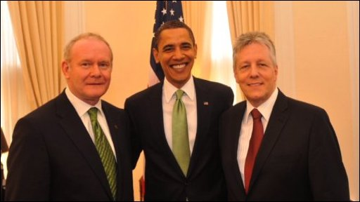 Martin McGuinness, Barack Obama and Peter Robinson