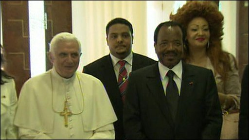 Pope Benedict XVI and Cameroon president Paul Biya