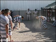 Inmates run round Tent City