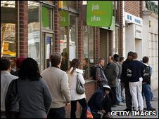 British jobseekers queue at a job centre