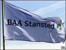 BAA flag outside Stansted airport