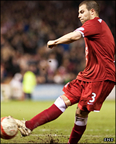 Aberdeen's Richard Foster misses from the spot
