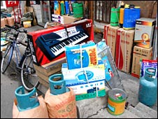 Goods for sale at a shop selling to North Koreans