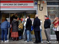 Jobless cue in Madrid
