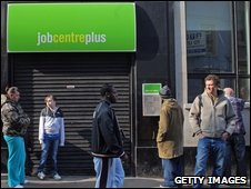 Cue at a job centre in the UK