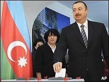 Azerbaijan's President Ilham Aliyev casts his ballot