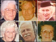 Six of the 10 patients were - (clockwise from top left) - Sheila Gregory, Robert Wilson, Enid Spurgin, Elsie Devine, Arthur (Brian) Cunningham and Ruby Lake