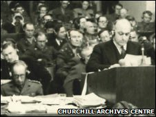David Maxwell Fyfe addressing the Nuremberg courtroom