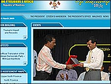 Website of the Maldives president