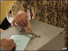 Lebanese ballot being cast, 2005