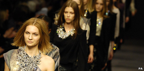 Models at London Fashion Week
