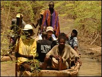 Traveling by boat along the River Omo