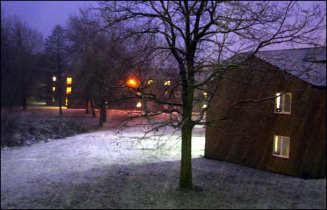 Purple sky and snow in Coventry