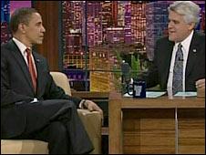 US President Barack Obama and The Tonight Show's host Jay Leno