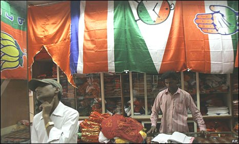 Political party flags being sold in India